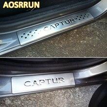 AOSRRUN нержавеющая сталь Накладка порога 4 шт./компл. автомобильные аксессуары для Renault Captur 2014 2015 Автомобиль-Стайлинг