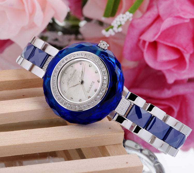 Melissa благородный синий горный хрусталь женское платье Часы модные элегантные леди Керамика наручные часы Роскошные Кристаллы Montre Femme f6535