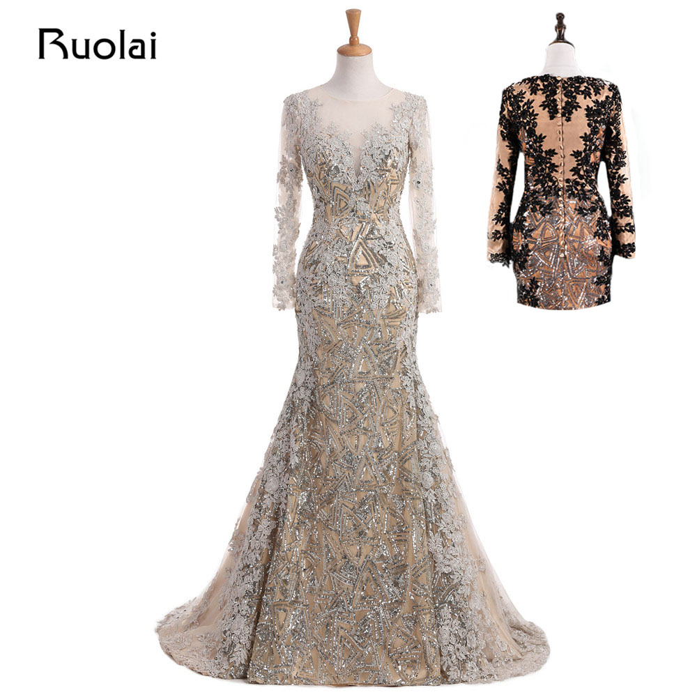 Real Photo Unique Mermaid Evening Dress Long Sleeves Muslim Prom Dress 2018 Lace Sequined Silver Vestido