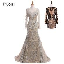Real Photo Unique Mermaid Aftonklänningar Lång Ärmar Muslim Prom Dress 2017 Lace Sequined Silver Vestido de Festa MD13