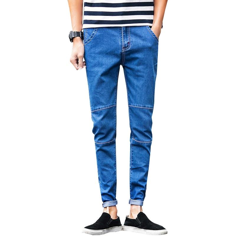 2017 Spring new men's black skinny jeans Fashion slim fit cowboy feet pants mens pencil pants  N-ZK012 inc petite new black skinny leg regular fit pants 10p $59 5