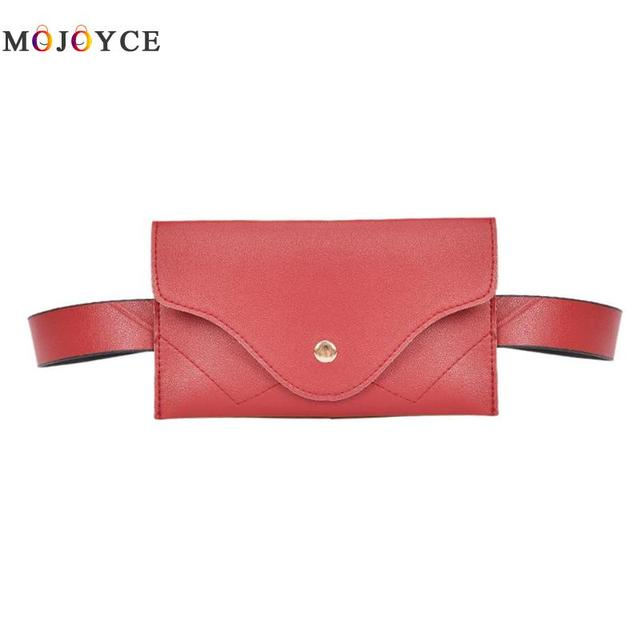 Simple Classic Women PU Leather Waist Pack Pure Color Casual Belt Bag Fanny Pack Chest Bags Bolosa