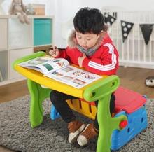 Little children folding tables and chairs. The table learning toys
