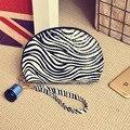 Material de LA PU de rayas de impresión mini neceser almohada forma de bolsa de cosméticos de moda