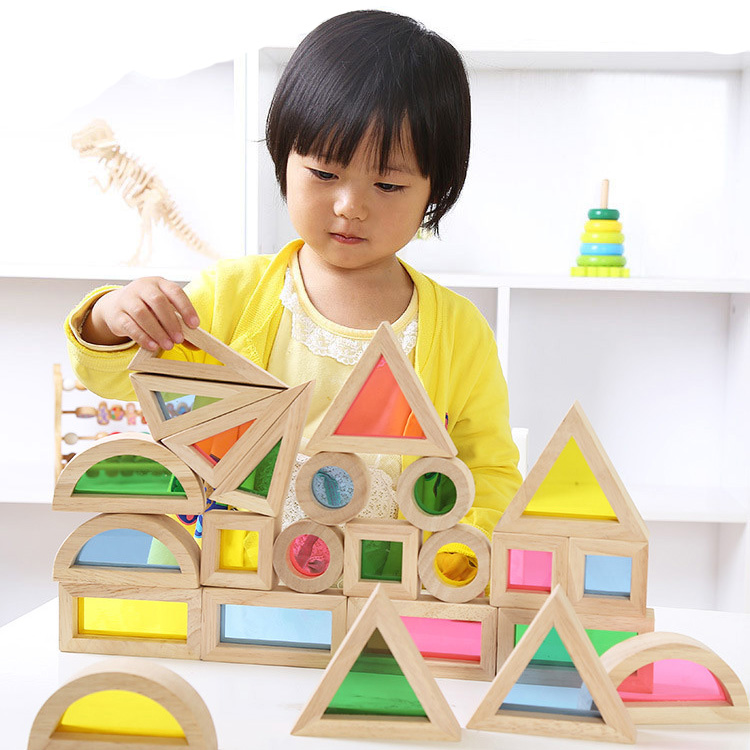 Montessori En Bois Arc-En-Ciel Blocs De Construction 24 pièces Jouets Pour Enfants 6 Forme 4 Couleurs Translucides Brinquedo Oyuncak Brinquedos