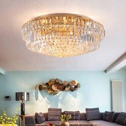 Modreсветодиодный кристалл LED круглая Потолочная люстра Avize спальня Plsfonnier потолок лампы для мотоциклов для гостиная дома Освещение