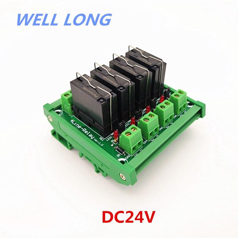 Module d'interface de relais de puissance DIN 4 DPDT 5A, relais JW2SN-DC24V.