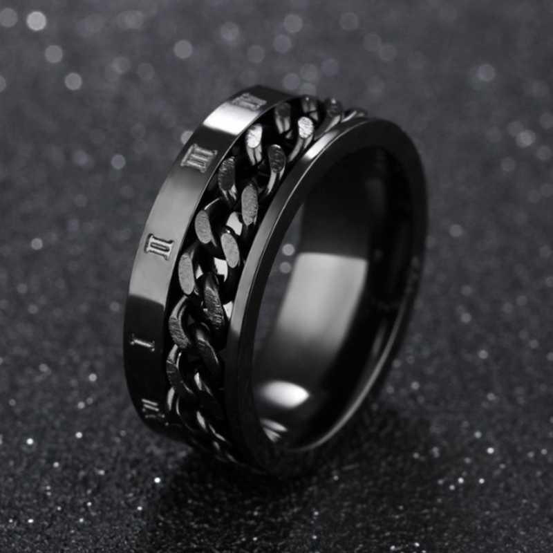 EDC Спиннер для пальцев из нержавеющей стали, поворотное кольцо, мужское классическое римское цифровое чувство мощности, подарок