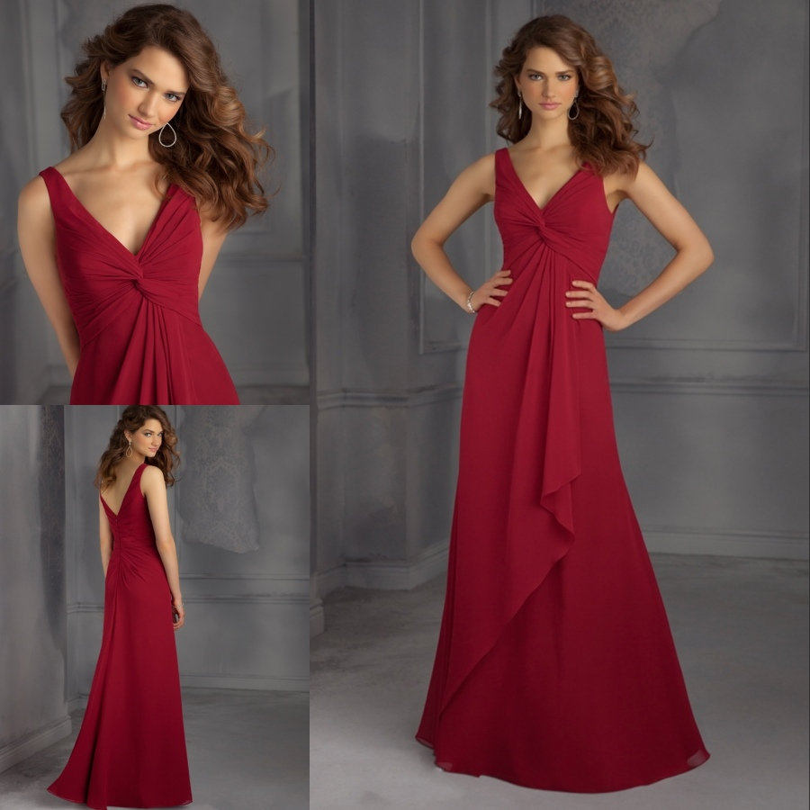 d406db1f45ee New Style Long Dress Party Bridesmaid Elegant 2015 Wine Red Chiffon Party  Dress Cheap Price