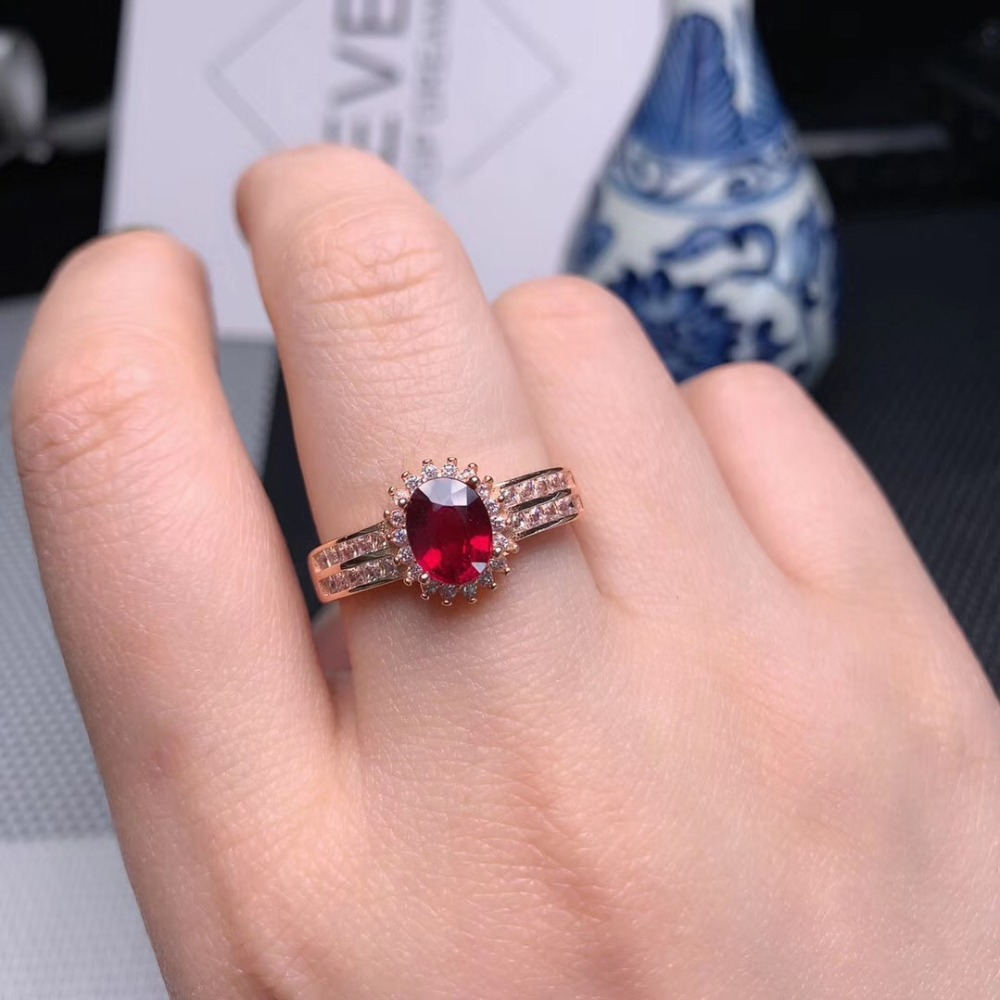 Sterling silver ring.red ruby ring.man made diamond ring.gold over silver ring.promise ring.engagement ring.handmade ring.E411