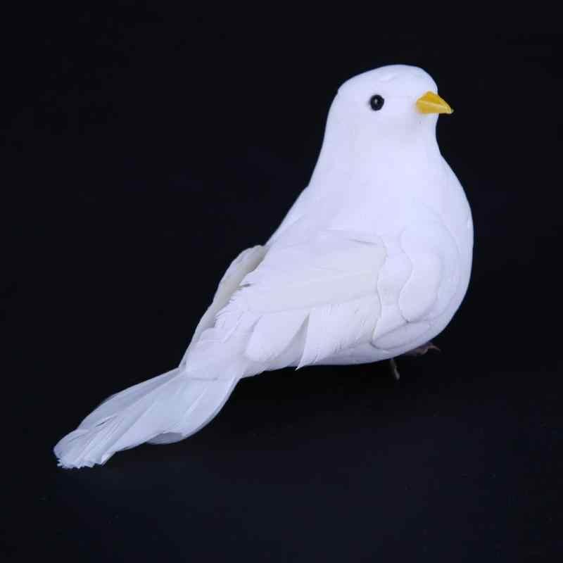 1 ชิ้น 3D สีขาวโฟมตกแต่ง Doves Home Craft เด็กจำลองนกของเล่นของขวัญตกแต่งบ้านเครื่องประดับ