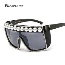 Badtemper Steampunk Goggles Women Rhinestones Pearl Sunglasses Women Fancy Oversized Sunglasses Square Oculos De Sol Crystal