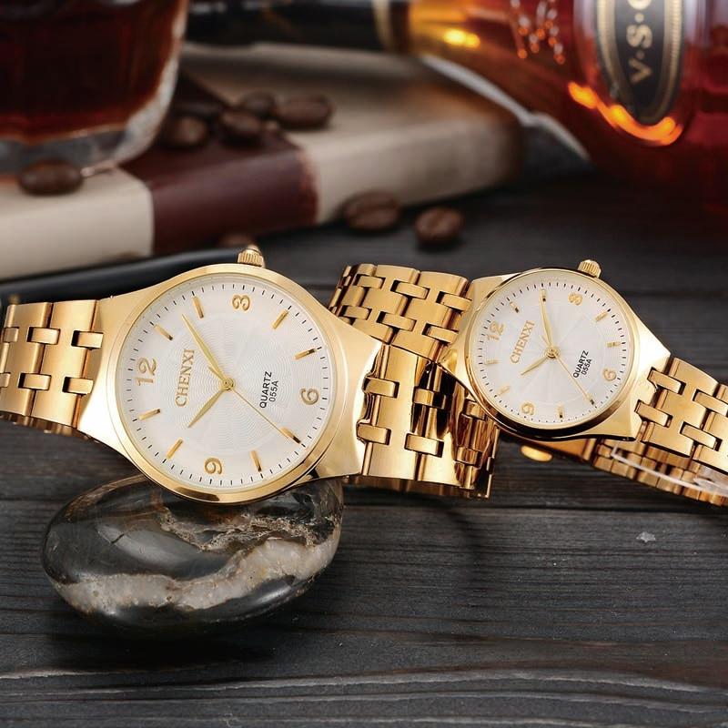 Trend Waterproof Couple Watch Golden Fashion Stainless Steel Lovers Watch Quartz WristWatches For Women & Men Business Watch