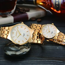 Trend Waterproof Couple Watch Golden Fashion Stainless Steel