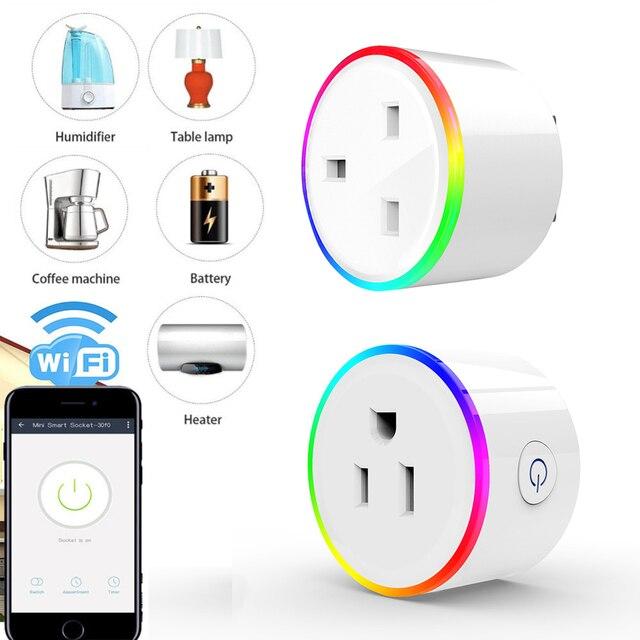Enchufe inteligente WiFi toma de Control RGB escena luz 10A Control de energía temporizador interruptor de Control de voz por Alexa Google Home IFTTT
