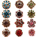 Wholesale 12 PCS Antique Gold Plated Acrylic Crystal Bijoux Small Cute Brooch Pins for Women