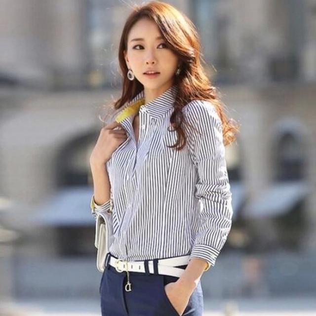 ed68c74f8cebf Blusas femeninas 2016 primavera mujer Blusas de manga larga elegante señora  de la oficina camisas a