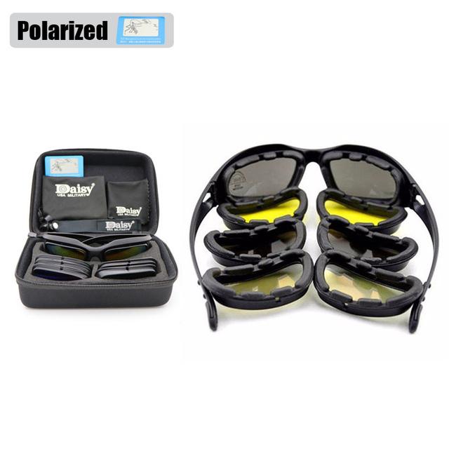 Daisy C5 Tempestade No Deserto dos homens Polarizados Óculos de Proteção Do Exército Jogo de Guerra Tático Óculos Esportivos óculos de Sol Militares 4 Kit de Lente