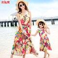 2016 Vestido de playa de Moda de verano de la familia ropa para la madre y la hija de mamá y yo ropa