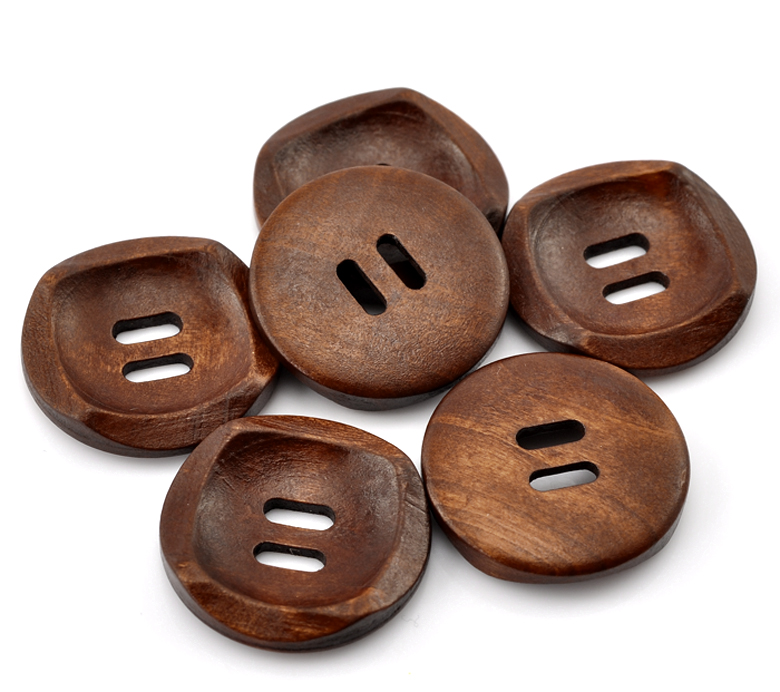 23 MM COFFEE COLOUR WOOD 8 X ROUND WOODEN BUTTONS BARGAIN 4 HOLE