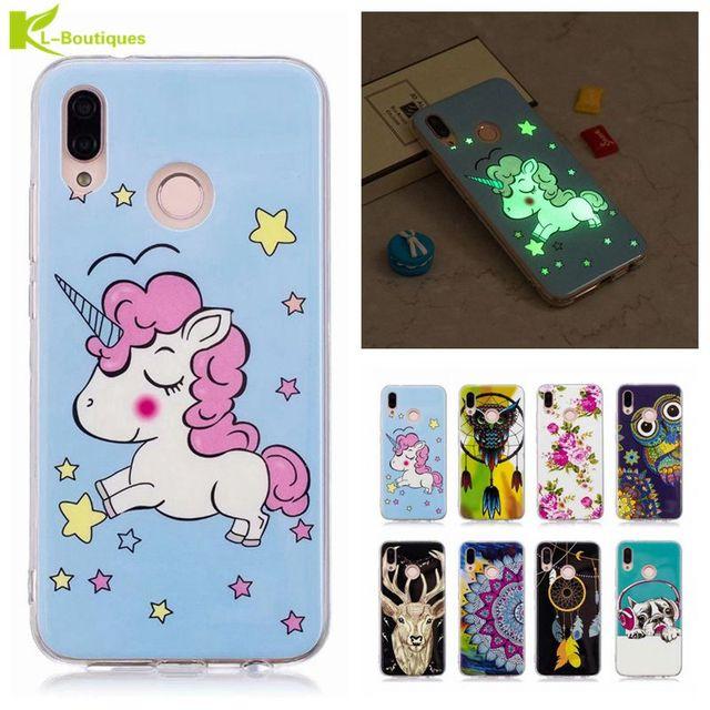 newest 45a98 a59a3 US $1.5 16% OFF|Aliexpress.com : Buy P20lite Luminous Case on sFor Coque  Huawei P20 Lite Case Owl Unicorn Cartoon Fundas For Huawei P20 Pro Soft ...