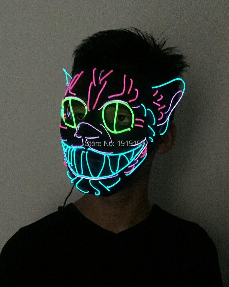 Film Theme 10Pcs EL Thread Cat King Funky Mask April Fools Day Decor Led Strip Neon Movie Figure Mask for Ballroom Dancing Hall james gitu wise fools