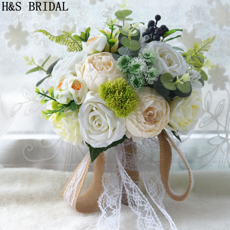 H S Bridal Ivory Wedding Bouquet Rose Flowers Bouquet Artificial