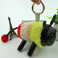 New Real Sheep Fur Keychains Fashion Pompon Charm Women Bag Key Chain Wool Car Pendant Multi