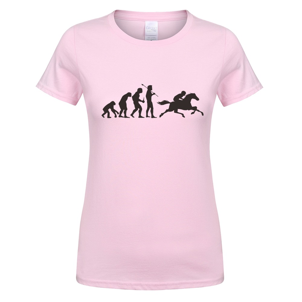 Cool Horse Riding Woman T-shirt Funny Printed Ape Evolution T-shirts Women Summer Short Sleeve Tees 100% Cotton Girl Female Tops