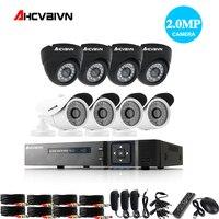 8CH CCTV System 1080P HDMI AHD CCTV DVR 8PCS 2 0MP 3000TVL IR White Dome Camera