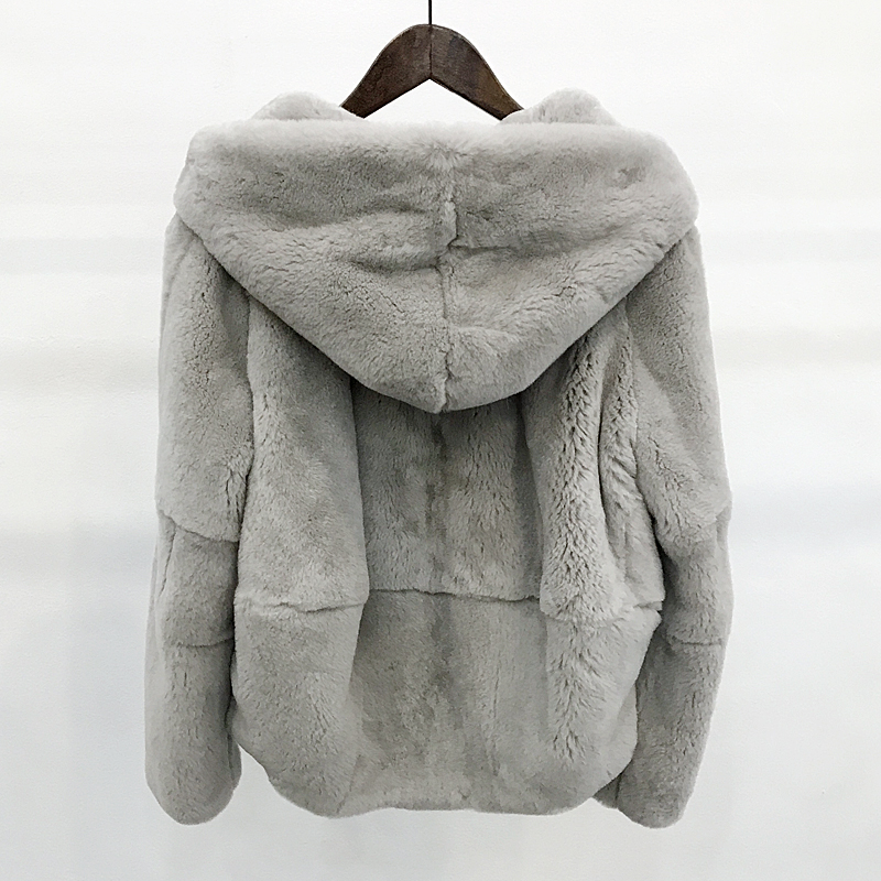 2018 Whole Skin Natural Real Rex Fur Coat Clothing Women's Winter Hooded Short Jacket Long-sleeved Outerwear Coat Large Size(China)