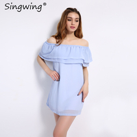 Singwing Off The Shoulder Summer Women Dress Sexy Slash Neck Double Cascading Ruffle Dresses Solid Pink