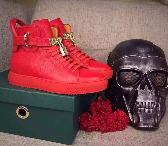 Botas Nova Punk De Estilo Bolsa Sneakers Em Alta As Show Lace Men as Couro Homens Top Cadeado Ouro Show Saltos Up Escondidos Do Cunhas Metal Genuíno Moda 6I6wrUq1
