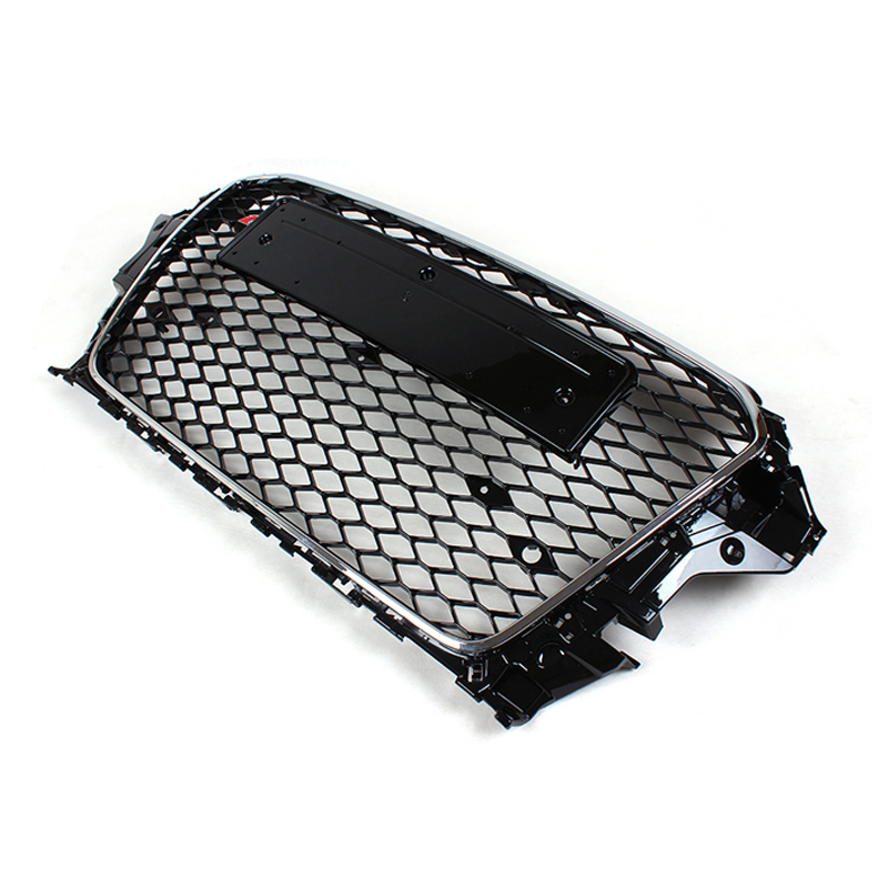 A3 RS3 Style Silver Frame Front Bumper Honeycomb Mesh Grill For Audi A3 2014-2016 brand new a3 rs3 abs oem style auto car front bumper mesh grills with camera hole for audi fit for a3 rs3 2013 2014