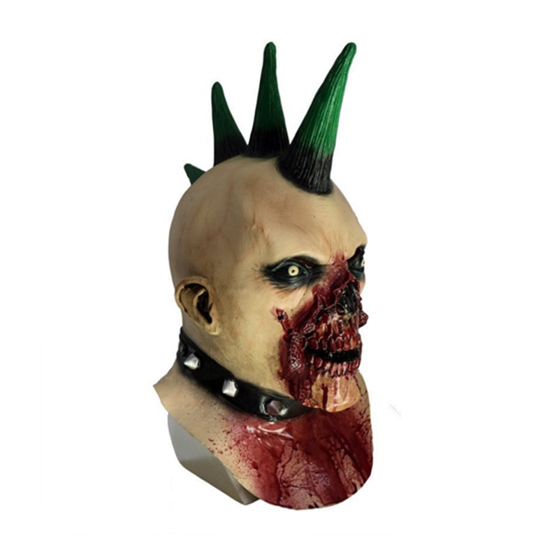2018 NEW Blood Drooling Mohawk Monster Deluxe Adult Latex Billy the Punk Zomble Mask