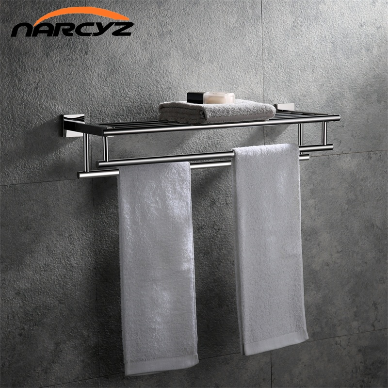 New Style Square Chrome color Towel rack Towel rack 304 stainless steel double towel rack Wall mount Bathroom accessories 9170K stainless steel square towel ring chrome finishing flg8902