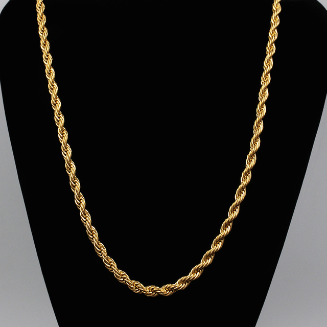 2015 fashion jewelry gold necklace 3mm Twisted Chain Men women 18K Real gold  plated jewelry wholesale 367498bc2b