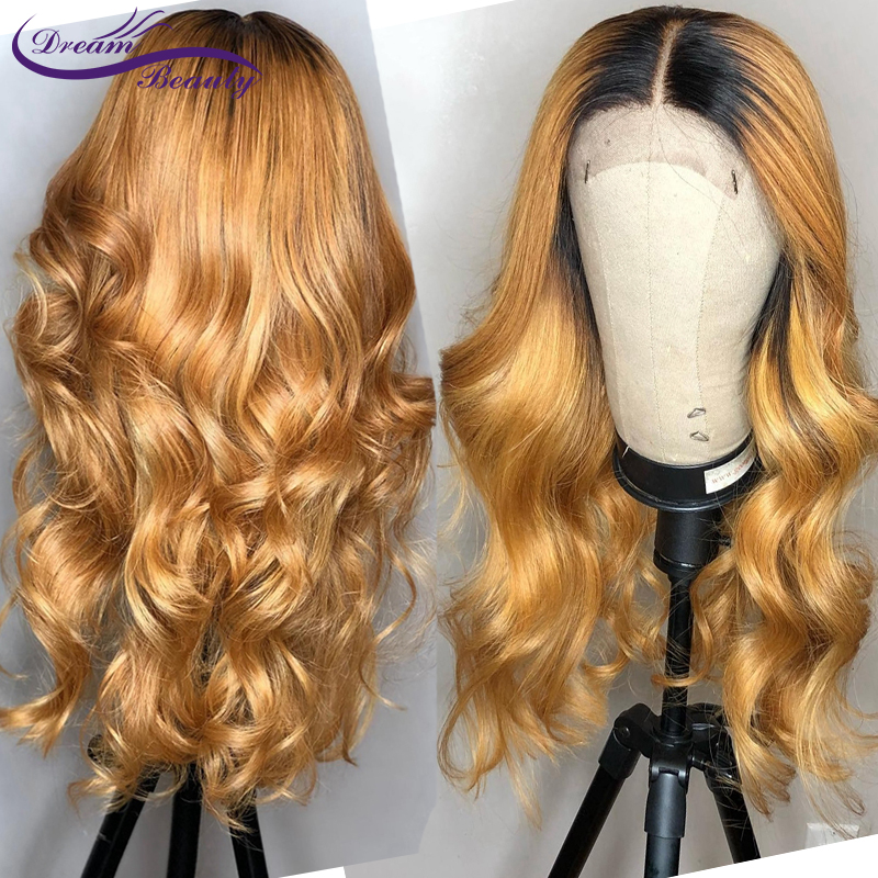 Honey Blonde Human Hair Wig With Baby Hair Glueless Lace Front Wig Brazilian Wavy Remy Hair