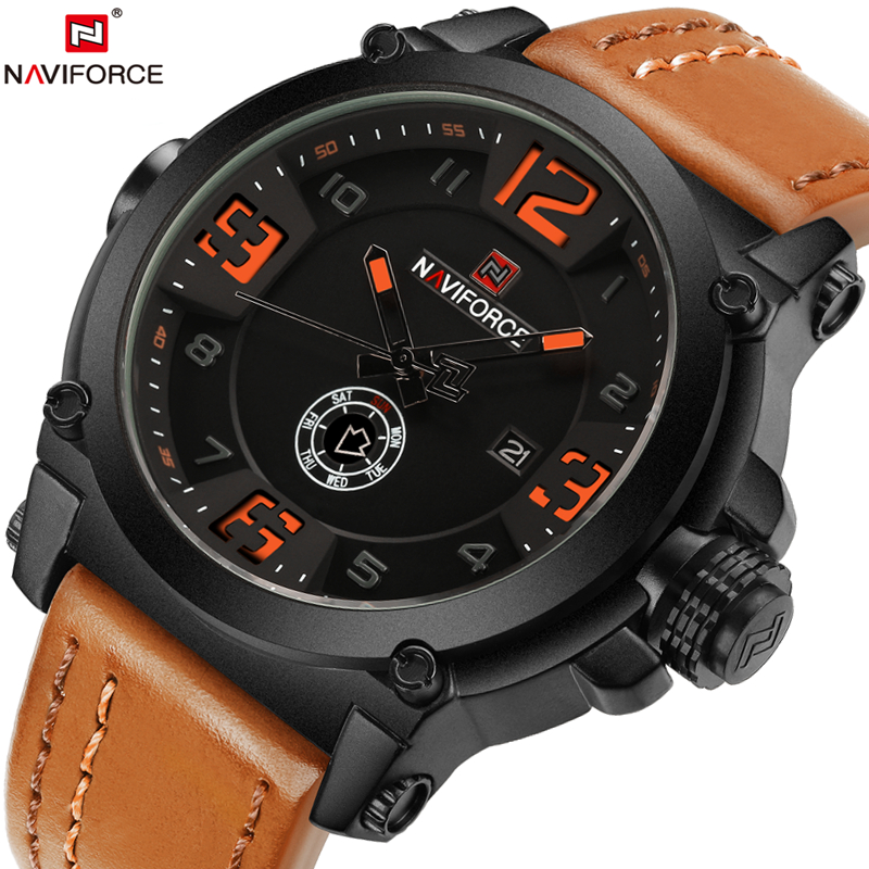 Naviforce Military Sport Mens Watches Top Brand Luxury Leather Quartz Watch Men Fashion Wristwatch Male Clock relogios masculino jedir reloj hombre army quartz watch men brand luxury black leather mens watches fashion casual sport male clock men wristwatch