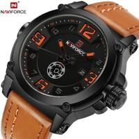 Naviforce Military Sport Mens Watches Top Brand Luxury Leather Quartz Watch Men Fashion Wristwatch Male Clock