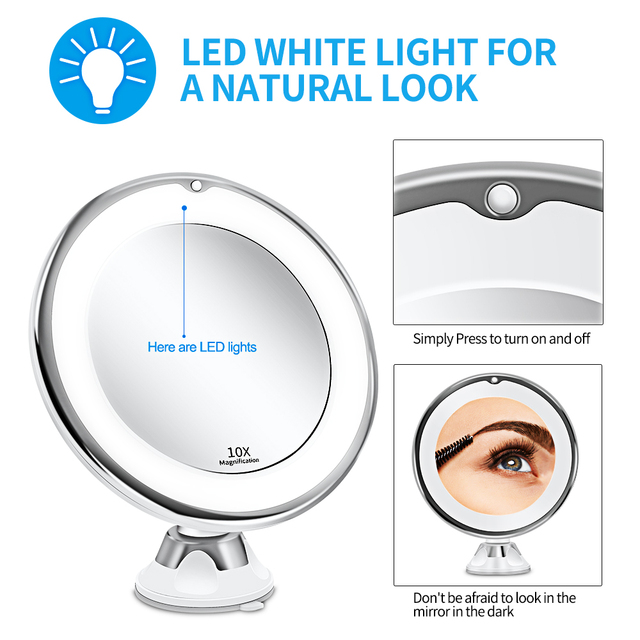 Makeup Vanity Mirror With 10X Lights LED Magnifying Mirror Cosmetic Mirrors Light Magnification LED Make up Mirrors Grossissant 2