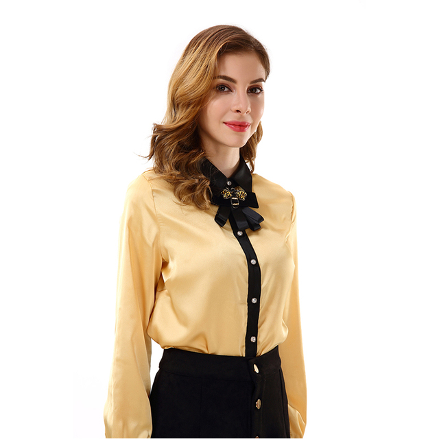 79cf7b6b Apperloth Women Clothing Long Sleeve Blouse Bow Tie Neck Button Down  Chiffon Top Shirt for Office Lady Uniform Blouses 2018