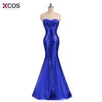 Xcos Royal Blue Evening Dress Long Sparkle 2018 New Sweetheart Women Elegant Sequin Mermaid Maxi Evening