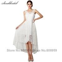 2015 New V Neck High Low Lace Short Wedding Dresses Robe Mariage Elegant White Knee Length