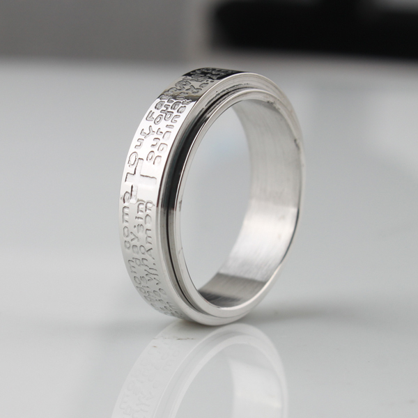 free shipping Wide 6mm carving cross Holy Bible turnning rings 316L Stainless Steel women men finger ring wholesale lots