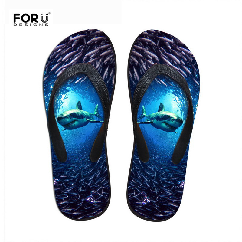 FORUDESIGNS Shark Summer Slippers Woman Casual Slip-on Beach Slippers High Quality Female Fashion Blue Dolphin Print Flip Flops