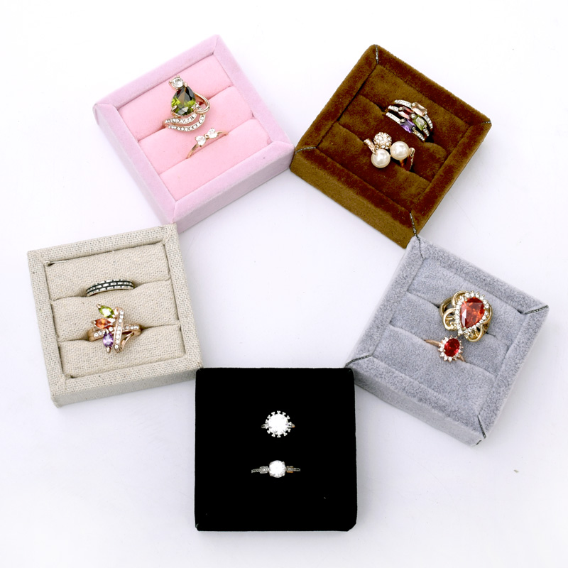 Small Velvet Or Linen Ring Display Holder Ring Display Tray Jewelry Display Tray Black, Brown, Beige, Pink, Black Ring Tray