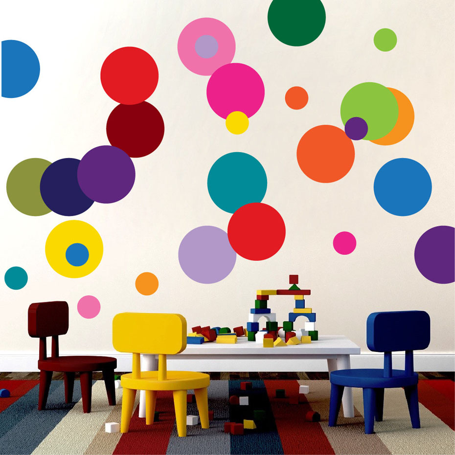 Polka Dots Cartoon Wall Art DIY Color Wall Stickers For ...