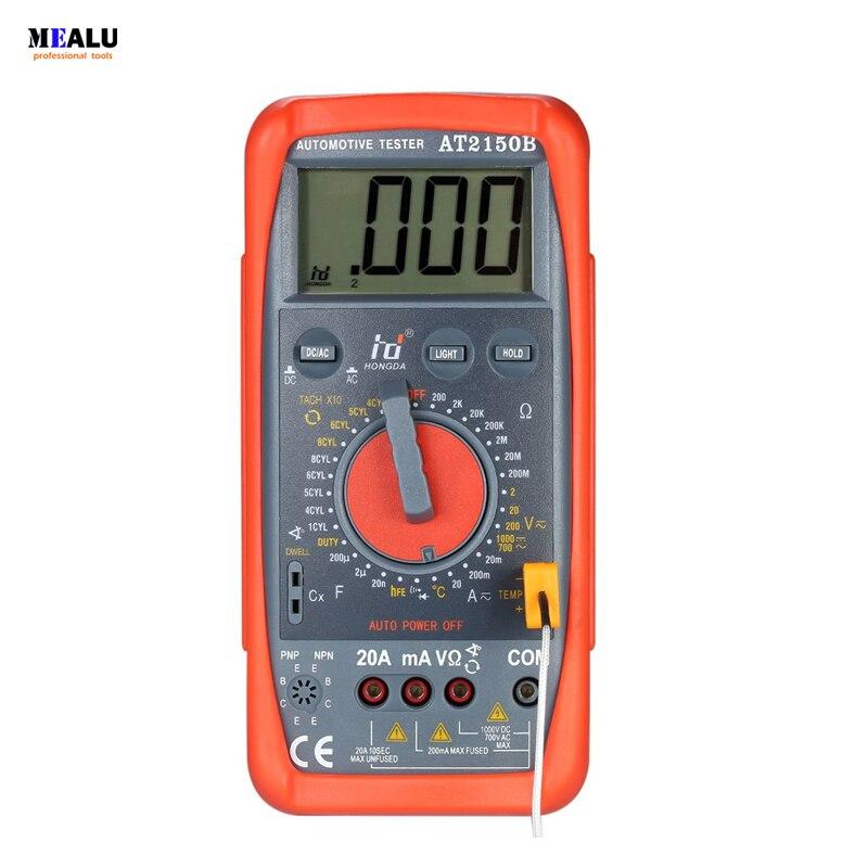 Hd At2150b Automotive Meter Tester Digital Multimeter Tachometer Cap Temp Sensor W Lcd Backlight Professional Tester