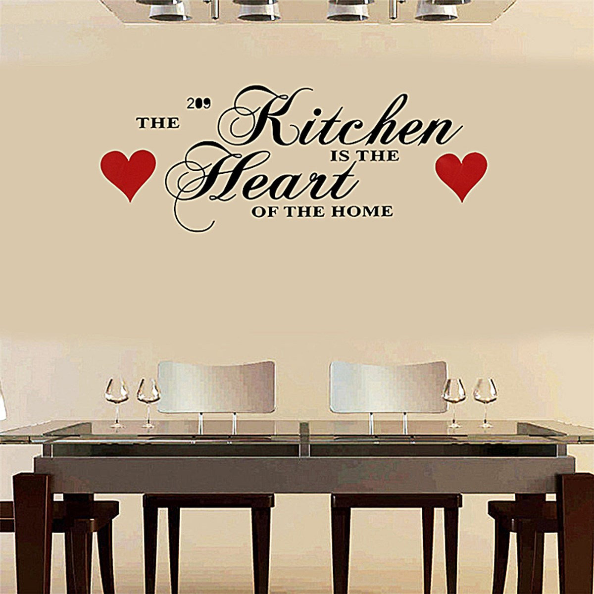 Kitchen Red Heart Wall Sticker Home Quote Decal Decorative Adesivo De Parede Removable Vinyl 60x28cm In Stickers From Garden On